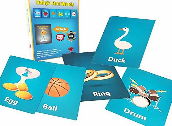 ARIZ PRODUCTS FLASH CARDS FOR CHILDREN - PREMIUM Set Of Baby First Words For Early Childhood Education, Appealing Design amp; Proven Techniques Improve Children Memory amp; Help Them To Read amp; Write Faster. L