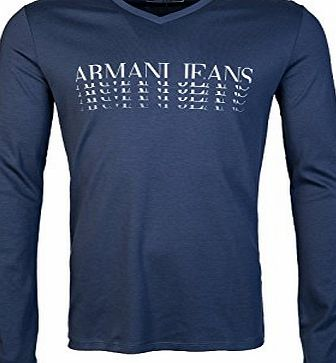 Armani Jeans 6X6T26 Cotton Long Sleeve V Neck Blue T-Shirt XL