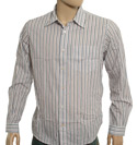 White Long Sleeve Shirt with Coloured Stripes