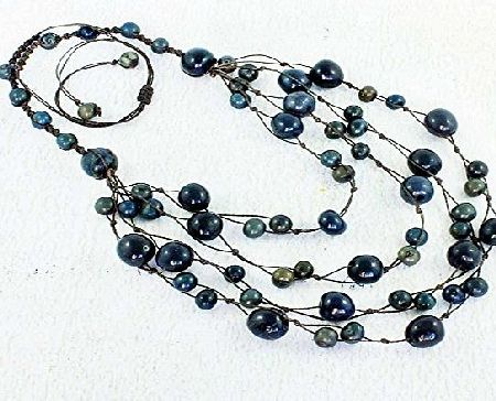 ArtisansintheAndes Navy Blue Multi Strand Necklace, Macrame Bib Style, Eco Friendly Handmade Fair Trade Jewellery