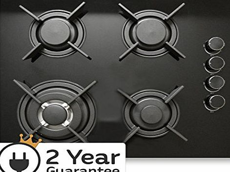 Ashcott Appliances AAO604BGH1 Built-in 60cm 4 Burner Black Glass Gas Hob