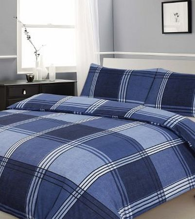 Ashley Mills Double Bed Duvet / Quilt Cover Bedding Set Hamilton Check Blue Checked / Striped