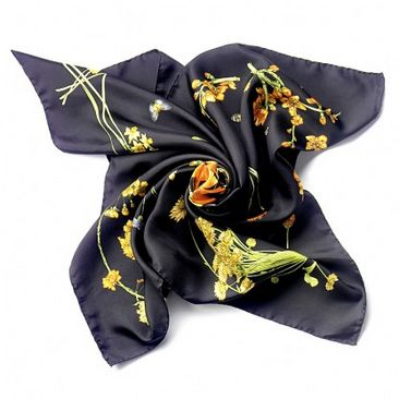 Flower and Butterfly Silk Scarf