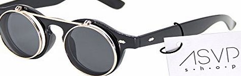 ASVP Shop Steampunk Goggles Glasses Round Sunglasses Emo Retro Vintage Flip Up Cyber A1