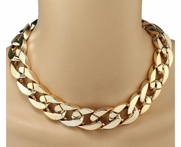 (TM) 1PC Shiny Link ID Celebrity Style Alloy Choker Necklace Chunky Chain (Gold)
