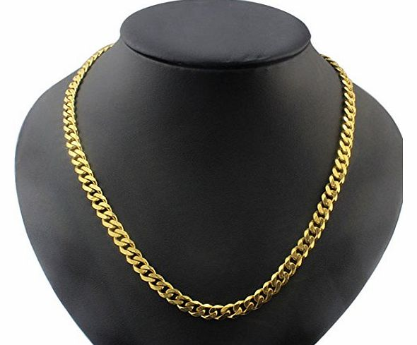 (TM) New Fashion MEN Stainless Steel Gold Cuban Curb Link Chain Necklace