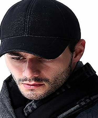 AUBREYRENE Mens Twill Denim Baseball Cap Warm Casual Hat Velcro Adjustable(Black)