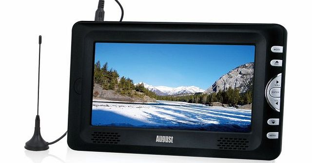August DTV705 7`` High Resolution Freeview LCD TV & PVR Recorder - Powered by Mains or Rechargeable Bat