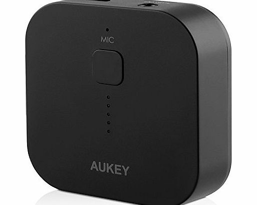 Aukey Portable Bluetooth 3.0 Audio Receiver Wireless Music Streaming Adapter Dongle with Hands Free Calling Built-in Mic and 3.5 mm Stereo Output for Car Music Sound System, Home Stereo, Compact Speak