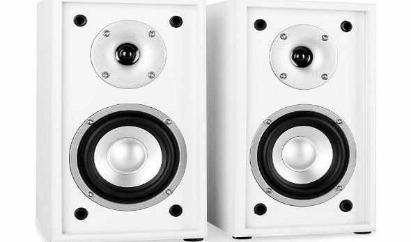 auna  Line 300 SF-WH Passive Hifi Bookshelf Speakers (2 x 35W RMS, Low Res Wood Cabinet amp; Gold Plated Speaker Connections) - White/Black