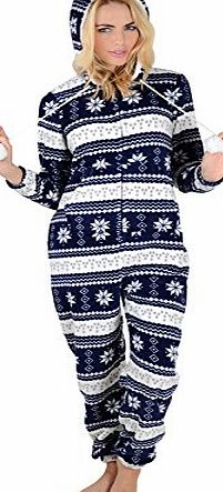 Autumn Faith Ladies Navy Snowflake Fleece All In One Pyjamas Sleepsuit Onesie Nightwear - XS