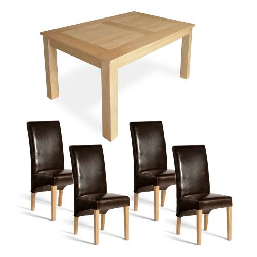 Oak Dining Set - 5`Table + 4 Olivia Chairs
