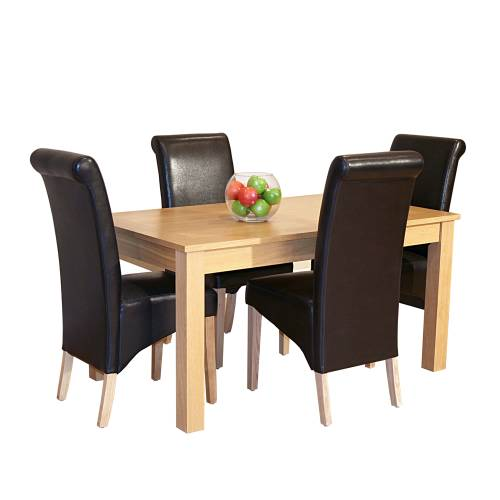 Oak Dining Set (5`Table x4 Guinness Chairs)
