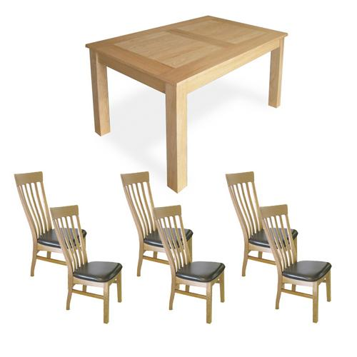 Oak Dining Set (6`Table x6 Classic Chairs)