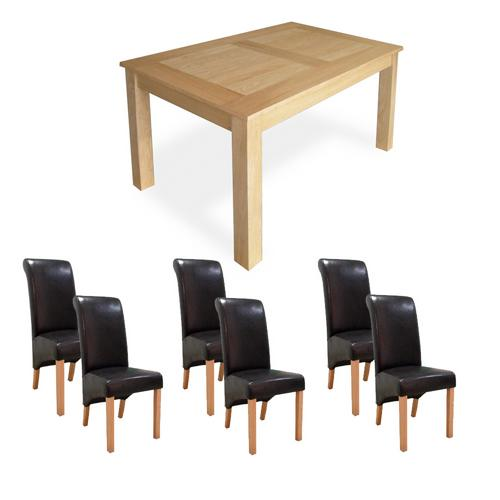 Oak Dining Set (6`Table x6 Guinness Chairs)