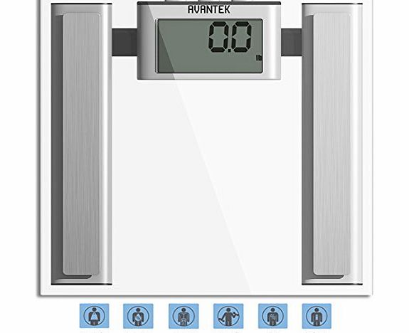 Digital Bathroom Body Fat Scale (Measures Water, Fat, Muscle & Bone Mass) with 400 lb / 180 kg Capacity & Step-On Technology
