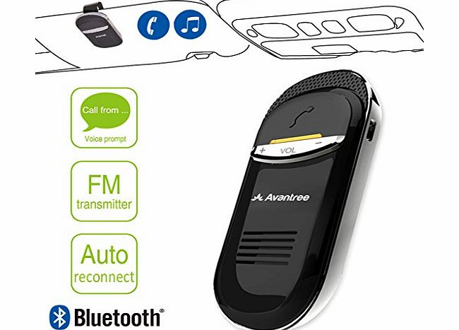 Avantree Joytune with FM transmitter for call and music, auto power-on, caller name announcement, clear FM ch