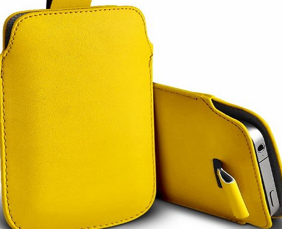 Aventus LG G2 Supreme Protection Faux Leather Pull Tab Cord Pouch Skin Cover Case Yellow By *Aventus*