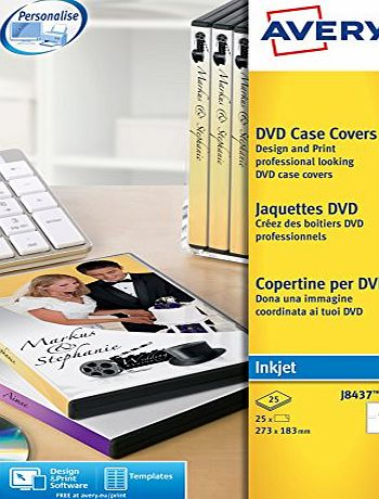 Avery J8437-25 DVD Case Inserts (A4 Sheets of 273 x 183 mm, 1 Label Per Sheet, 25 Sheets) - White