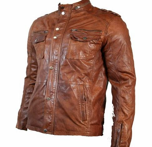 Aviatrix Mens Tan Brown Retro Biker Style Jacket Real ...