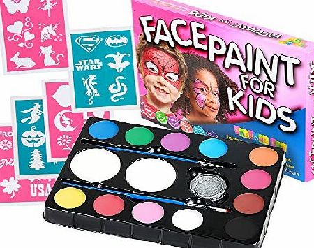 Awesome Fun Face Paint Face Paint Kit for Kids (47 Pieces) 12 Colour Palette: 30 Stencils, 2 Brushes, 2 Sponges, 1 Glitter. Best Quality Professional Face Painting Party Set. Safe Non-Toxic, Boys amp; Girls. Free Online Gu