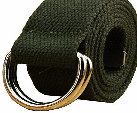 AYG Fashion Fabric Unisex Double Loop Buckle Casual Long Weave Canvas Belt with 13 Colours