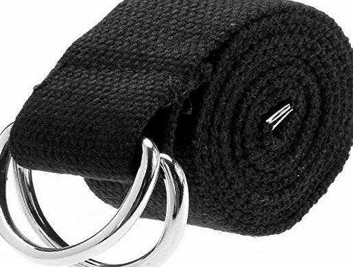 Ayliss Fashion Double D-Ring Solid Color Knit Canvas Web Belt Waistband (One Size, Black)
