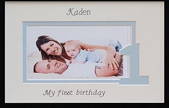 Azana Photo Frames Baby Boy First Birthday Photo Frame, Personalised, 9 x 7 Black