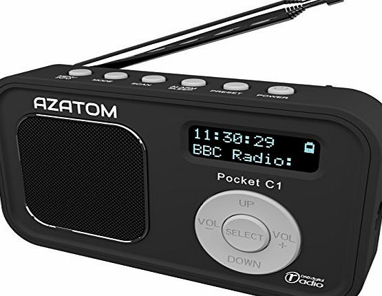 AZATOM® AZATOM Pocket C1 DAB Digital FM Radio Alarm Clock - Portable - Rechargeable Battery (Upto 16 hours playtime) / Mains Powered - Compact - Integrated Speaker - Premium Quality - Pocket Personal Portable