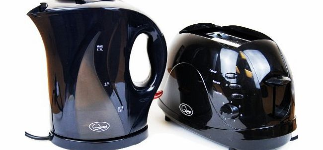B Ross Electric Cordless Jug Kettle and 2 Slice Toaster Kitchen Set Gloss Black