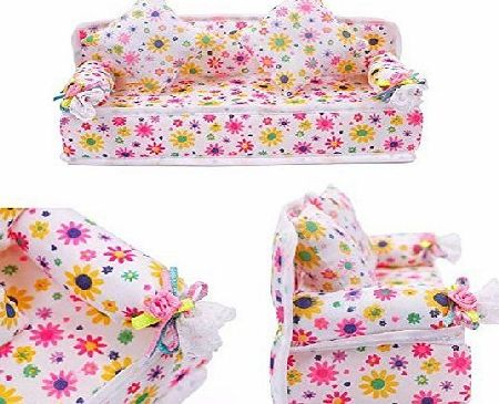 B.S.I. Products STOREINBOX Mini Furniture Flower Sofa Couch  2 Cushions For Barbie Doll House Accessories