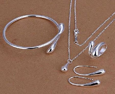 B.S.I. Products STOREINBOX New Fashion Solid Silver Jewelry Sets Necklace Bracelet  Ring  1 Pair Earrings by SIB