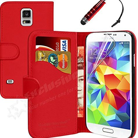 ® New Samsung Galaxy S5 Leather Wallet Flip Case Cover Pouch + Touch Stylus Pen + Screen Protector & Polishing Cloth