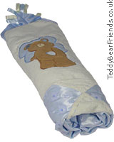 Bear Tales Large Blue Baby Blanket