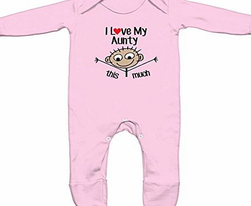 Baby Hustle I Love My Auntie This Much Baby Romper Sleep Suit (Baby Pink, 0-3m)