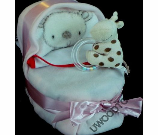 BABY SHOWER GIFTS New Mum ~ New Baby ~ Nappy Cake ~ Nappy Cot ~ Baby Shower Gift ~ Delivered in a Patterned box