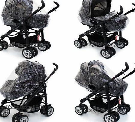 Baby Travel 2 in 1 Pram Pramette Rain Cover Babystyle Lux Convertible Carrycot Raincover (Zipped ZIKO)
