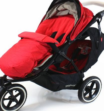 Baby Travel Universal Luxury Footmuff Cocoon - Red For Phil amp; Teds Double Kit / Navigator / Explorer / Dash / Dot / Vibe