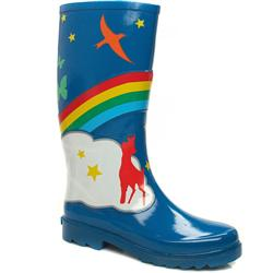 Female Rainbow Wellie Manmade Upper in Blue