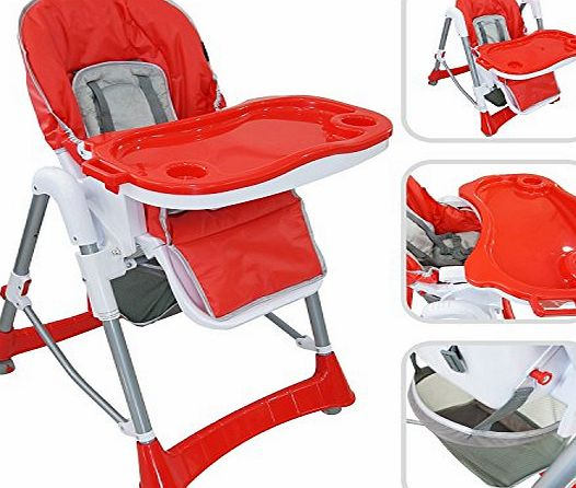 BABYFIELD Baby high chair - Red high chair with table for children from 6 months to 3 years