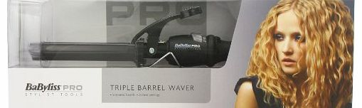 BaByliss  Pro Black Porcelain Triple Barrel Waver - Creates Gorgeous Waves Instantly