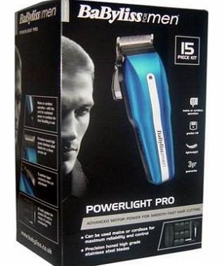 HIGH QUALITY BABYLISS POWERLIGHT PRO MENS CORDLESS RECHARGEABLE HAIR CLIPPER TRIMMER K