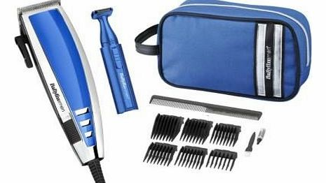 HIGH QUALITY MAINS OPERATED BABYLISS MENS DELUXE HAIR TRIMMER CLIPPER GIFT SET INCLUDES WASH BAG