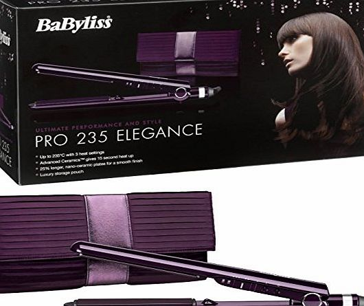 BaByliss Pro 235 Elegance Hair Straightener Advanced Ceramics Styler - Salon Straightening Performance