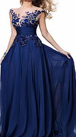 Babyonline Plus size Royal Blue Long Prom Lace Dresses chiffon Gowns UK20