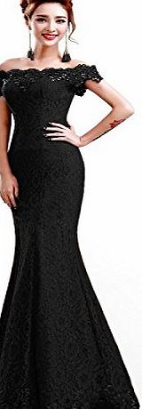 Babyonlinedress Womens Elegant Lace Prom Party Evening Gowns Short Sleeves