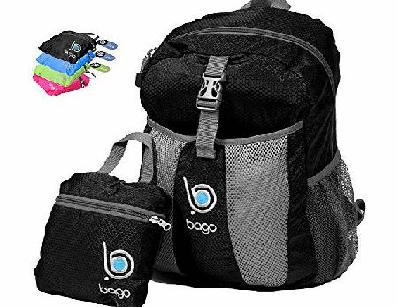 Packable Backpack For Men, Women And Children - Lightweight Foldable Rucksack - Use As Travel Bag, Daypack, Carry On For More Luggage Space - Folds Into Its Inner Pocket - (BLACK)