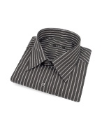 Black and Brown Ribbon Striped Cotton Italian Dress Shirt