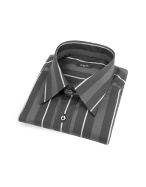 Black and Gray Striped Cotton Italian Dress Shirt
