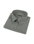 Black and Gray Striped Snap Collar Cotton Italian Dress Shirt